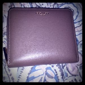Like New Taupe Coach Zip Around Wallet